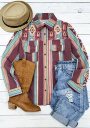 Aztec Geometric Western Colorful Striped Button Pocket Shirt