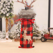 Christmas Santa Reindeer Buffalo Plaid Plush Wine Bottle Cover
