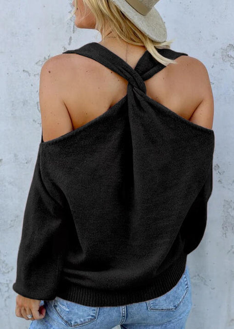 Cold Shoulder Twist Knitted Sweater - Black