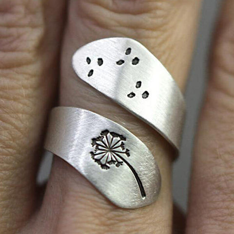 Dandelion Open Adjustable Alloy Ring