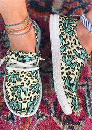 Leopard Thunderbird Lace Up Flat Canvas Sneakers - Lake Blue