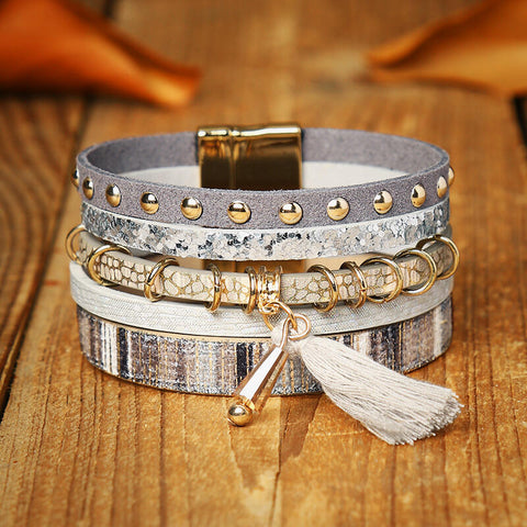 Leopard Tassel Beading Multi-Layered Leather Bracelet