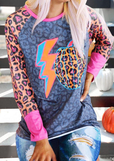 Halloween Colorful Leopard Pumpkin Blouse