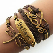 Love Believe Hollow Out Dragonfly Multi-Layered Braided Bracelet