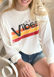 Good Vibes Striped Long Sleeve Pullover Sweatshirt - White
