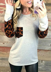 Leopard Splicing Pocket Long Sleeve Blouse - Light Grey