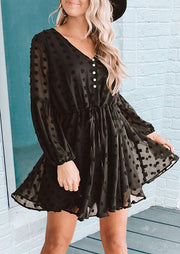 Ruffled Dotted Swiss Tie Button V-Neck Elastic Cuff Mini Dress - Black