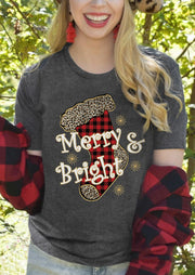 Christmas Plaid Leopard Merry & Bright Sock T-Shirt Tee - Dark Grey