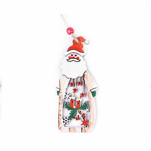 Christmas Snowman Snowflake Hollow Out Wooden Tree Hanging Ornament