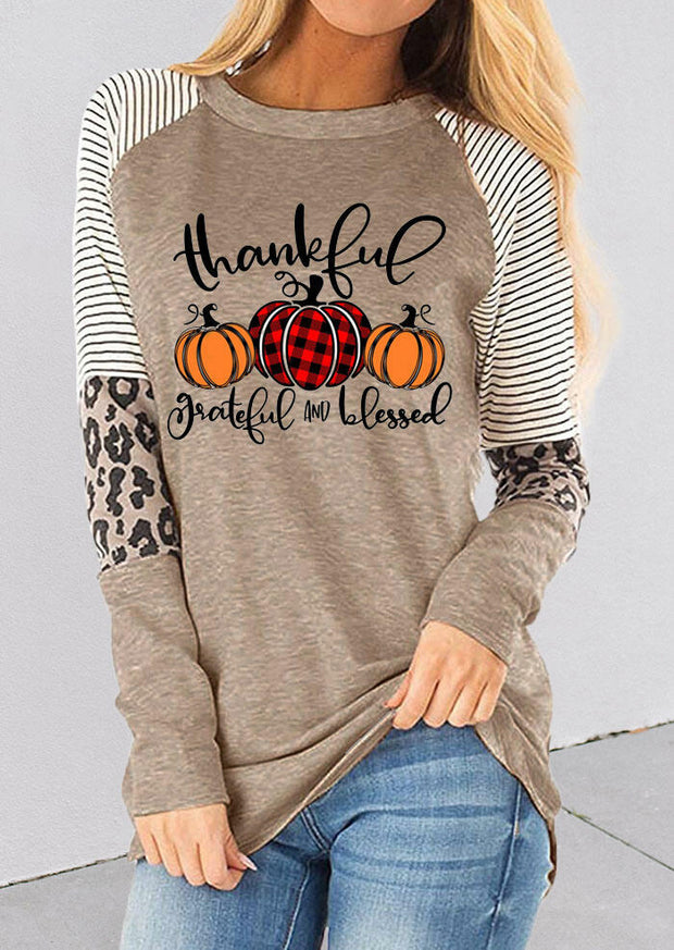 Thankful Striped Leopard Splicing Plaid Pumpkin Blouse - Gray