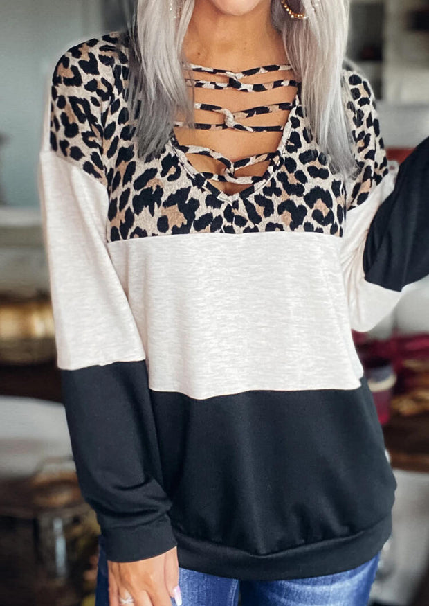 Leopard Color Block Criss-Cross Long Sleeve Blouse