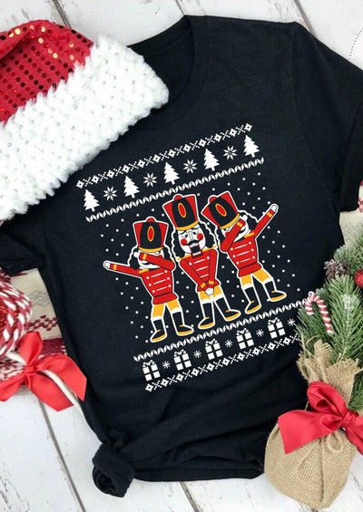Christmas Nutcracker Soldier Funny Ugly T-Shirt Tee - Black