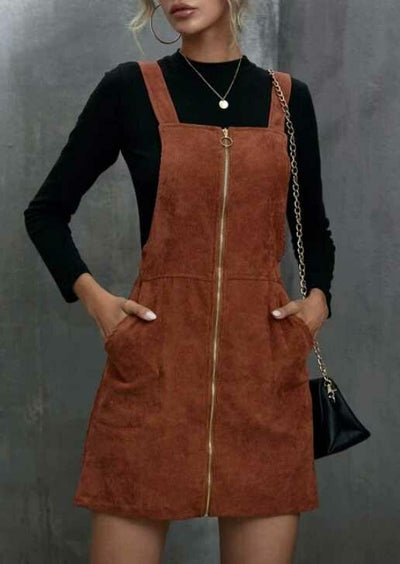 Pocket O-Ring Zipper Corduroy Overall Mini Dress - Brown