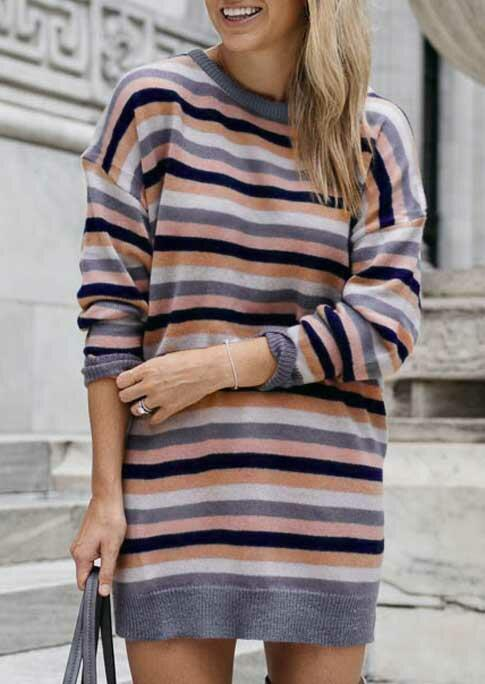 Colorful Striped Knitted Long Sleeve Mini Dress