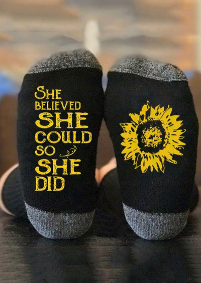 She Believed She Could So She Did Sunflower Socks - Black