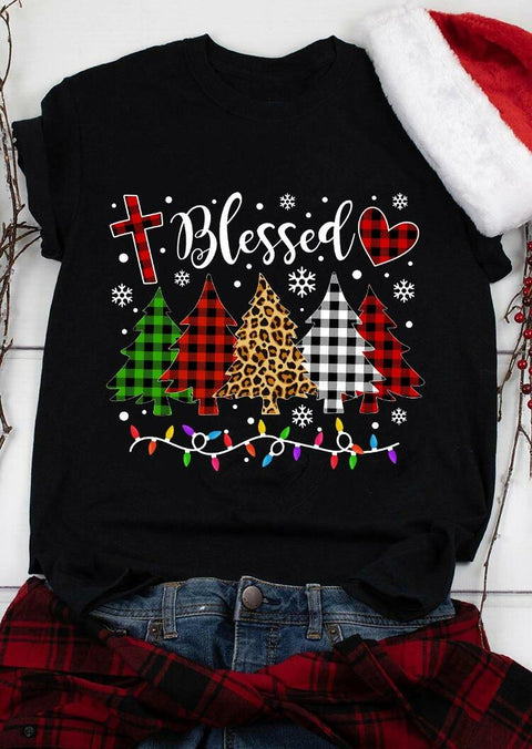 Leopard Plaid Christmas Tree Blessed Cross Snowflake T-Shirt Tee - Black