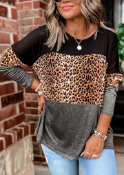 Leopard Splicing Color Block Long Sleeve Blouse