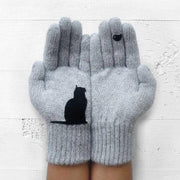 Winter Warm Black Cat Bird Knitted Gloves