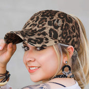 Leopard Criss-Cross Hollow Out Ripped Washed Baseball Cap