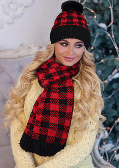 Classic Buffalo Plaid Knitted Scarf And Hairball Hat
