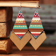 Vintage Aztec Geometric Diamond-Shaped Wooden Earrings