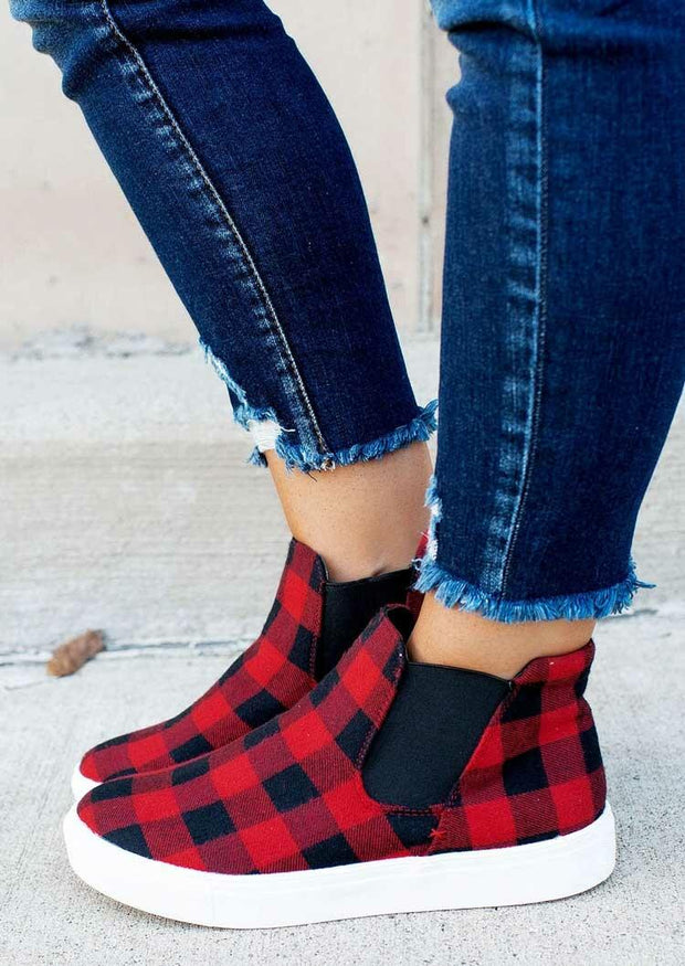 Buffalo Plaid Splicing Elastic Band Flat Sneakers - Red