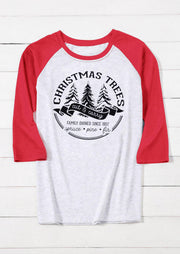 Christmas Trees O-Neck T-Shirt Tee - Red