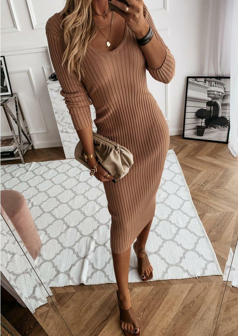 V-Neck Long Sleeve Bodycon Dress - Light Coffee