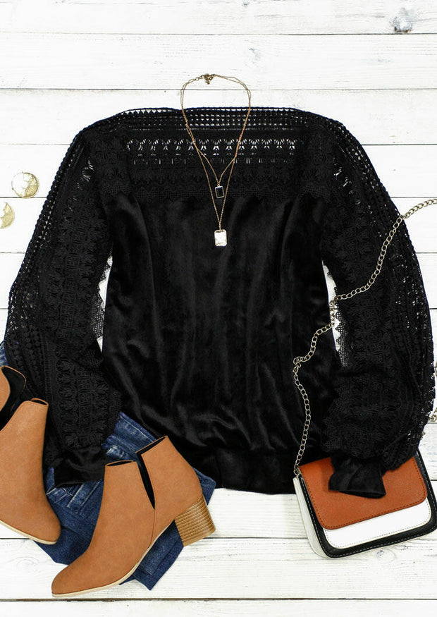 Lace Floral Splicing Plush Warm Sweater - Black
