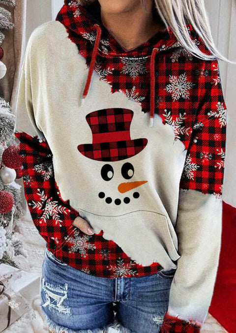 Christmas Snowman Face Snowflake Plaid Drawstring Hoodie