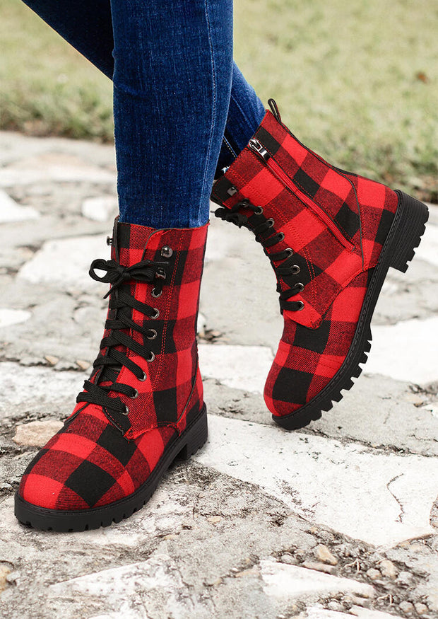 Buffalo Plaid Zipper Low Heeled Combat Boots - Red