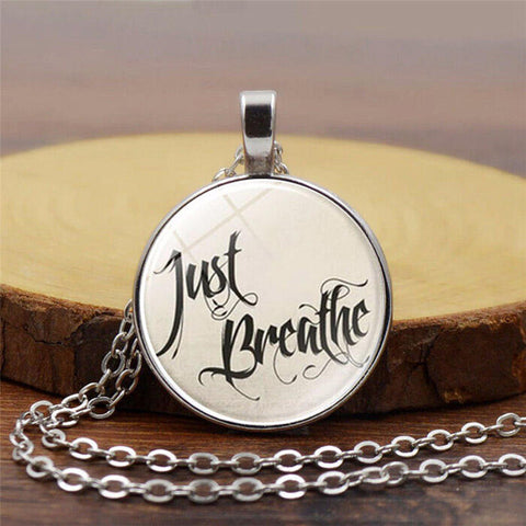 Just Breathe Vintage Pendant Sweater Chain Necklace