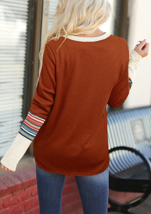 Colorful Striped Splicing Long Sleeve Blouse - Brown