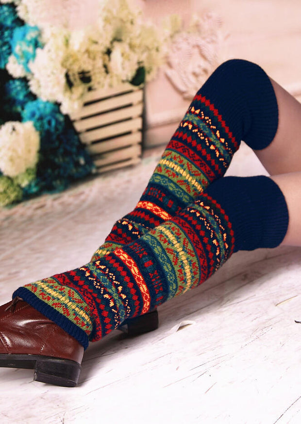 Colorful Striped Bohemia Thigh-High Leg Warmers Socks