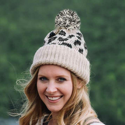 Winter Warm Leopard Hairball Knitted Toque Hat