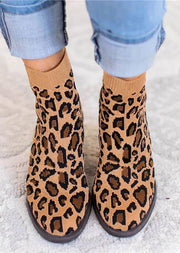 Leopard Winter Fly-Woven Fabric Boots
