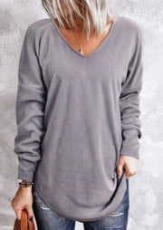 Criss-Cross Open Back Long Sleeve Blouse - Gray