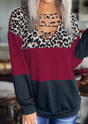 Leopard Color Block Criss-Cross Long Sleeve Blouse - Burgundy