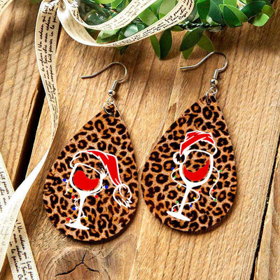 Christmas Hat Leopard Wine Glass Water Drop Earrings