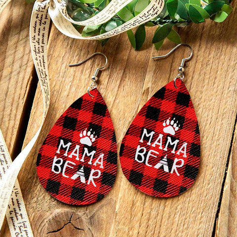 Buffalo Plaid Mama Bear Paw Water Drop Earrings - Red