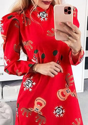 Christmas Reindeer Puff Sleeve Mini Dress - Red