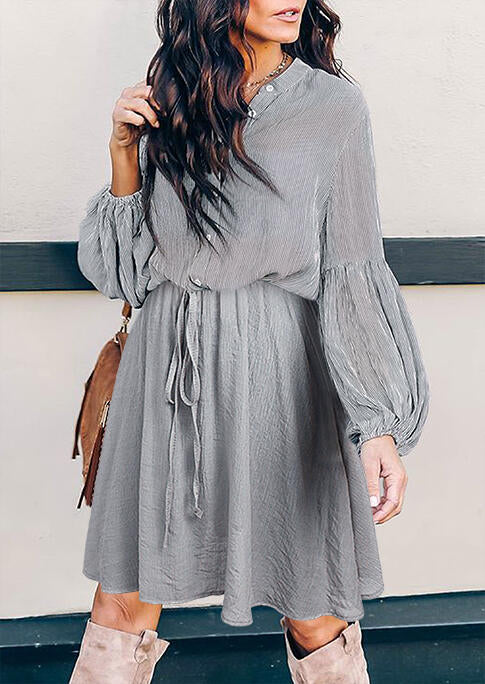 Ruffled Button Tie V-Neck Elastic Cuff Mini Dress - Gray