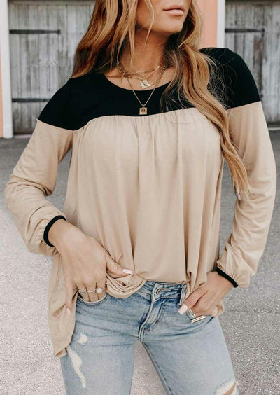 Color Block Elastic Cuff Long Sleeve Blouse - Khaki