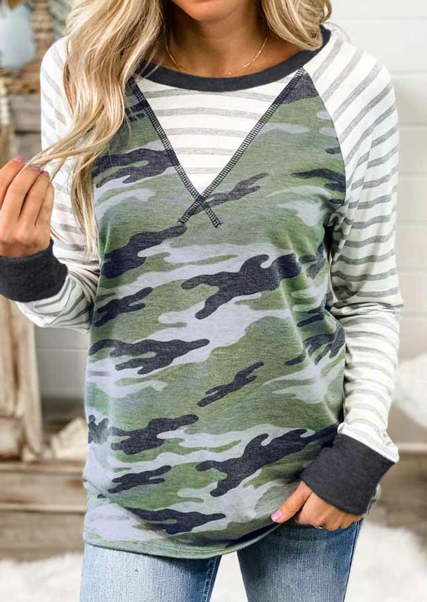 Camouflage Striped Long Sleeve Casual Blouse