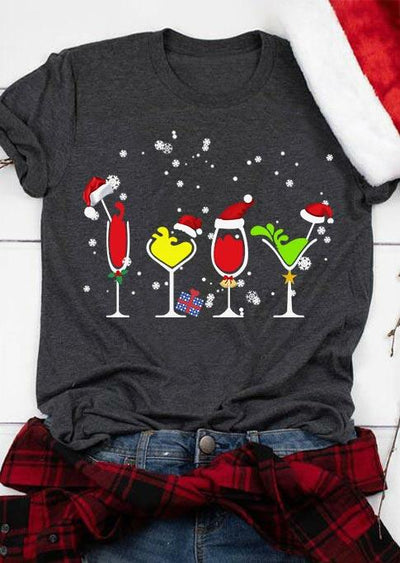 Christmas Snowflake Wine Drink O-Neck T-Shirt Tee - Gray