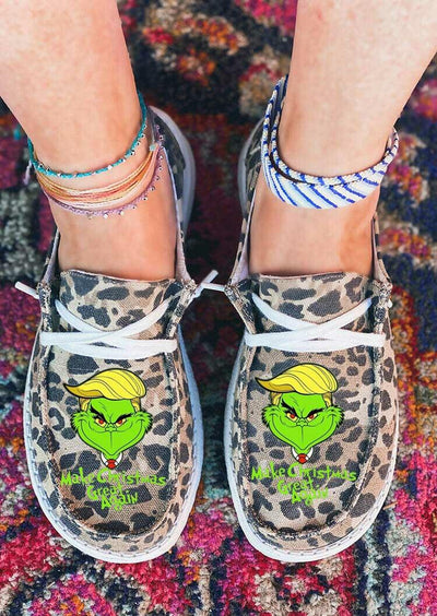Christmas Grinch Leopard Slip On Flat Sneakers
