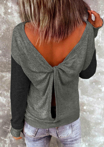 Open Back Twist Long Sleeve Blouse - Dark Grey