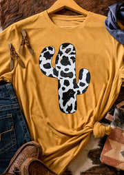 Western Cow Cactus O-Neck T-Shirt Tee - Yellow