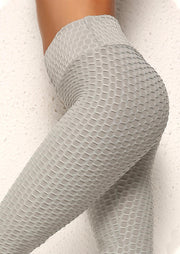 Jacquard Bubble High Waist Yoga Sports Leggings - Gray