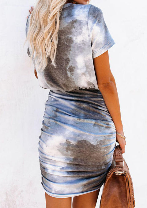 Tie Dye Ruched O-Neck Bodycon Dress
